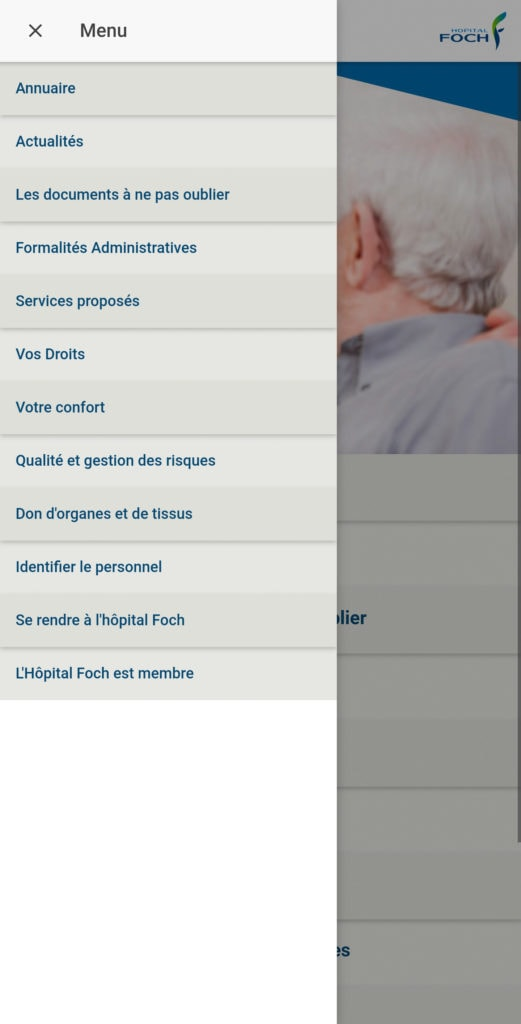 App Guide du patient Hopital Foch